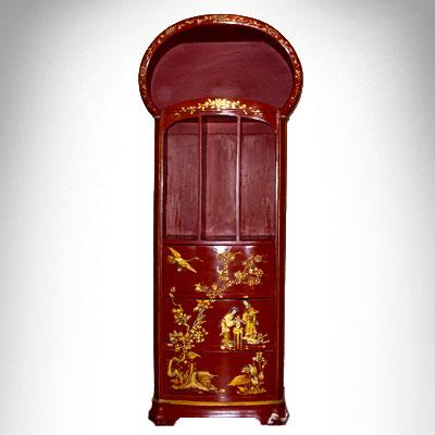 Antico étagère in legno laccato rosso - Primi '900