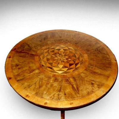 Antico tavolo tondo lastronato e intarsiato - Primo '800