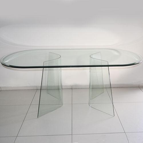 Tavolo fiam ovale in vetro - Tavolo in cristallo ovale ...