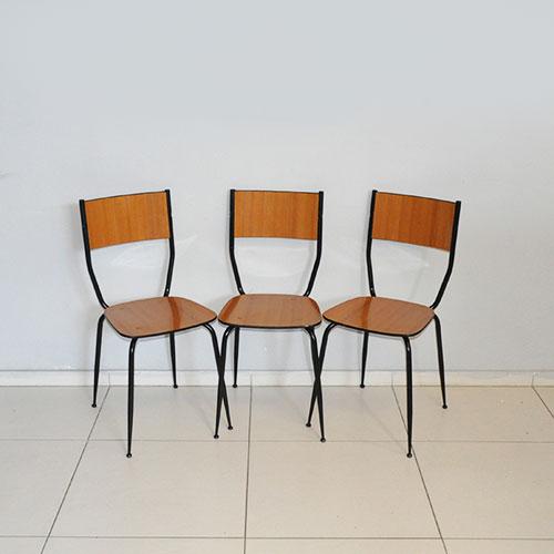 Salvarani set di 3 sedie da cucina legno acciaio seggiole for Sedie da cucina in acciaio satinato